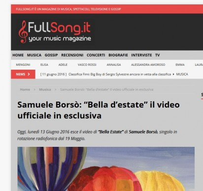"Oggi esce in anteprima su FullSong.it, magazine di musica il video di ""Bella Estate"""