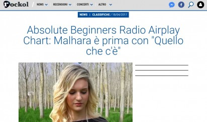 Absolute Beginners Radio Airplay Chart di Rockol : Malhara è prima con