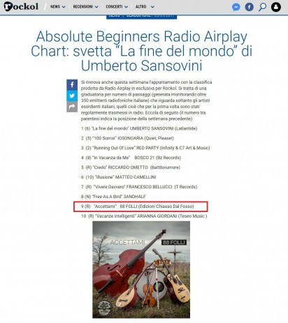 "Absolute Beginners Radio Airplay Chart di Rockol al 9° gli 88 Folli Page con ""Accettami"""